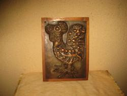 Kakas  , domborított  falikép ,vörösrézlemezből  17 x 24 cm