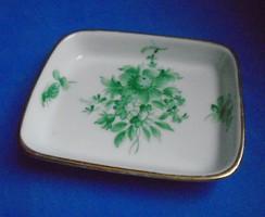 Herendi porcelán gyűrűtartó tálka, zöld apponyi
