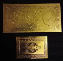 24 kt arany öt pengős bankjegy certificáttal