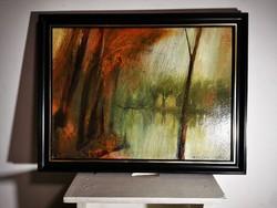 Takács Péter festőművész tájképet ábrázoló olajfestménye