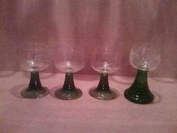 4 szép talpas üvegpohár, 3 +1 metszett gyönyörű