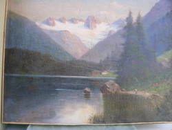 XIX sz vége Alpest tó  60X79 cm olaj-vászon