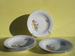 Kahla porcelán mélytányér tányér 6 db árvácska virág mintás tányérkészlet