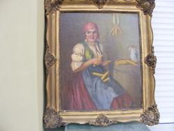 Szász István Kukoricafosztó lány olaj-vászon