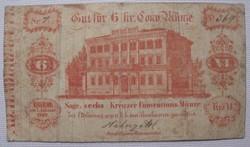 Eger-Cheb 6 kreuzer 1849 Osztrák Birodalom cseh városi szükségpénz