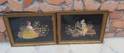 Gyönyörű pöttyös kendős lány  fiú kosaras hímzett , festmény Nosztalgia darab paraszti dekoráció