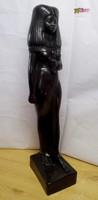 Tuja a fáraók anyja egyiptomi stílusú egész alakos fekete zsírkő szobor egyedi ritkaság.