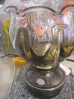 N28 Petróleum stíl elektromos működő asztali lámpa ritkaság vastag súlyos nehéz ízléses  búrával