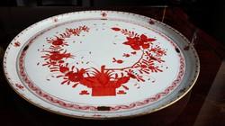 Hatalmas Herendi porcelán Orange Indiaikosár kerek kínáló tál