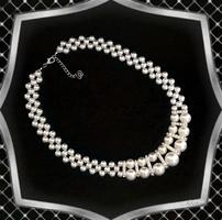 Ékszerek-nyakláncok: Alkalmi nagy gyöngyös nyaklánc kristály köves díszitő elemekkel, ES-L02-1e