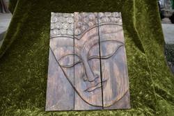 Buddha fej kézi fa faragás 45 x 60,5 cm