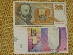 10 DÍNÁR MACEDÓNIA 1996 + 20 DÍNÁR JUGOSZLÁVIA 1994