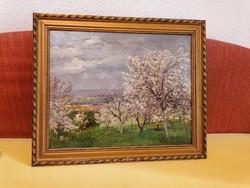Szlányi Lajos Virágzó fák gyönyörű olaj fa festmény