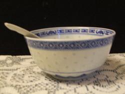 Rizsszemes kínai porcelán tál kanállal 2.