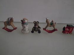 Karácsonyfadísz - 5 db - minikék - fa - kerámia - műanyag - 3 x 3 2,5 x 2 cm - babaházba IS
