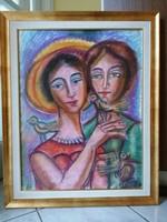 Józsa János: Nők madarakkal, 65 x 50 + keret