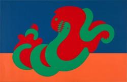 Victor Vasarely(1906-1997) 'Dragon'- Sárkány-, Nagy méretű szitanyomat,  50 x 70 cm,