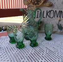 Retro zöld  üveg 14 cm magas kancsó +4 db  feles pohár Gyűjtői szépségek paraszti dekoráció