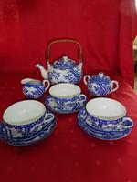 Japán porcelán, három személyes teáskészlet, kék mintával.