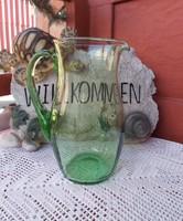 Retro zöld  üveg 20  cm magas Gyönyörű kancsó  nosztalgia darab Gyűjtői szépség paraszti dekoráció