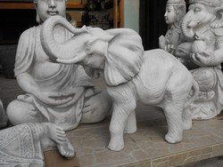 Ritka Indiai szerencse hozó Elefánt 55cm Kő Feng shui Japán kerti Fagyálló műkő szobor