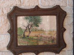 Faragott fakeret, akvarell képpel, festmény  mutatós vízfestmény, militaria stílusú keretben.