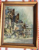 Jelzett német tájkép : Házak