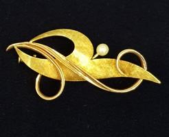 Régi Arany 14K Bross, kitűző igazgyönggyel
