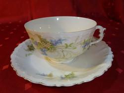 Német porcelán, antik teáscsésze + alátét. Vitrinben tartott darab.
