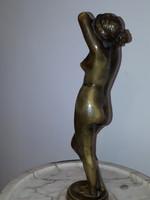 Eredeti bronz női akt szobor cararai márvány kínáló talpal 1900 évek