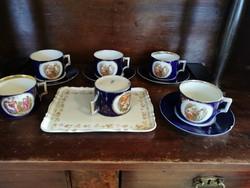 10 db-os jelenetes Altwien porcelán teás + tálca