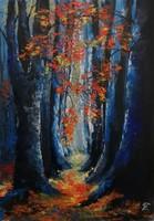 Czinóber - Forest-land ( 30 x 42, olaj, + gyönyörű, széles keret )