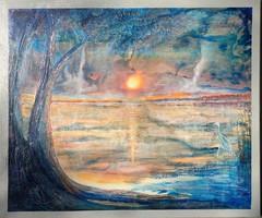 Hajnali fények 80x95 cm-es vászonkép. Károlyfi Zsófia Prima díjas alkotó műve