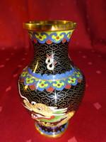 Tűzzománc váza japán mintával, magassága 10,5 cm.