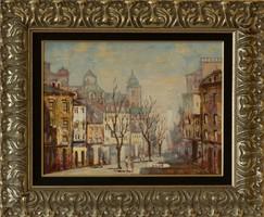 Vojnits Richárd Belvárosi utca c. festménye, EREDETIGAZOLÁS, VISSZAVÁSÁRLÁSI GARANCIA, INGYEN POSTA