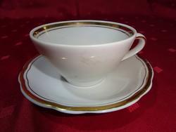 KAHLA GDR német porcelán KÁVÉSCSÉSZE + ALÁTÉT arany szegéllyel.