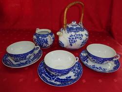 Japán porcelán három személyes teáskészlet, kék mintával.