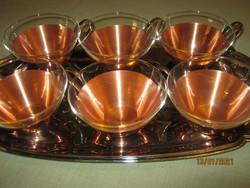6 db réz pohártartó hőálló pohárral Jena glass