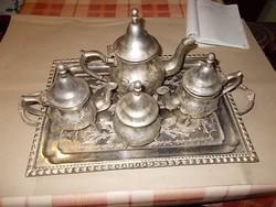 Nagyon szép cizellált díszítésű teáskészlet
