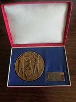 Retro jelzett bronz plakett - 20 éves a mátravidéki fémművek