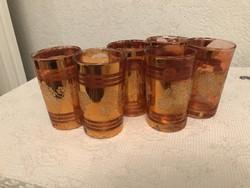 6db antik üveg pohár dusan aranyozott 11 cm magas.