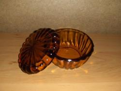 Retro borostyán színű üveg fedeles cukortartó (14/K)