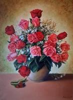 Olajfestmény: Rózsák