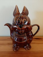Mázas kerámia nyúl, nyuszi tea vagy kávé kiöntő