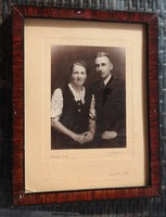 Régi 1943 -as s fa keret házaspár fényképével - képkeret fotóval
