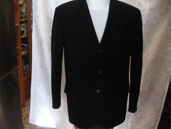 Bhs fekete gyapjú szövet kabát, felöltő