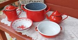 5 db-os piros  zománcos csomag kávéskanna tál Bonyhádi edény virágos tányér paraszti tárgyak népi