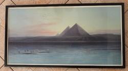Piramisok a Nílus partján - nagy tájkép nyomat sötétkép fa keretben