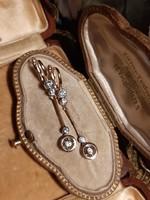 Art Deco button fülbevaló cirkóniákkal