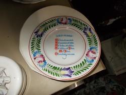 Házi Áldás.Hollóházi porcelán dísztányér